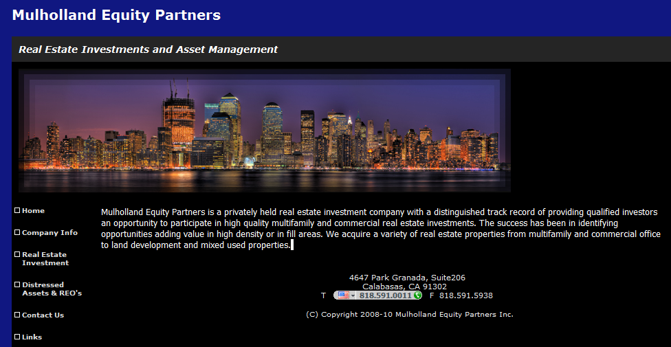 Mulholland Equity Partners- Investment In Real Estate